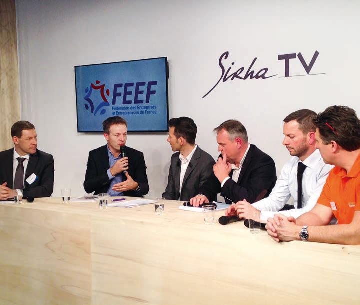 Table ronde organisée par la FEEF sur le dernier salon Sirha à Lyon, entre des dirigeants de PME et Éric Dumont, directeur général du groupe Pomona.DR